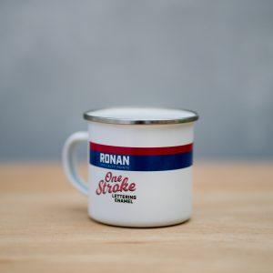 Ronan One-Stroke printed enamel mug