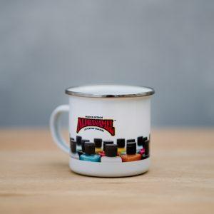 Alphanamel printed enamel mug