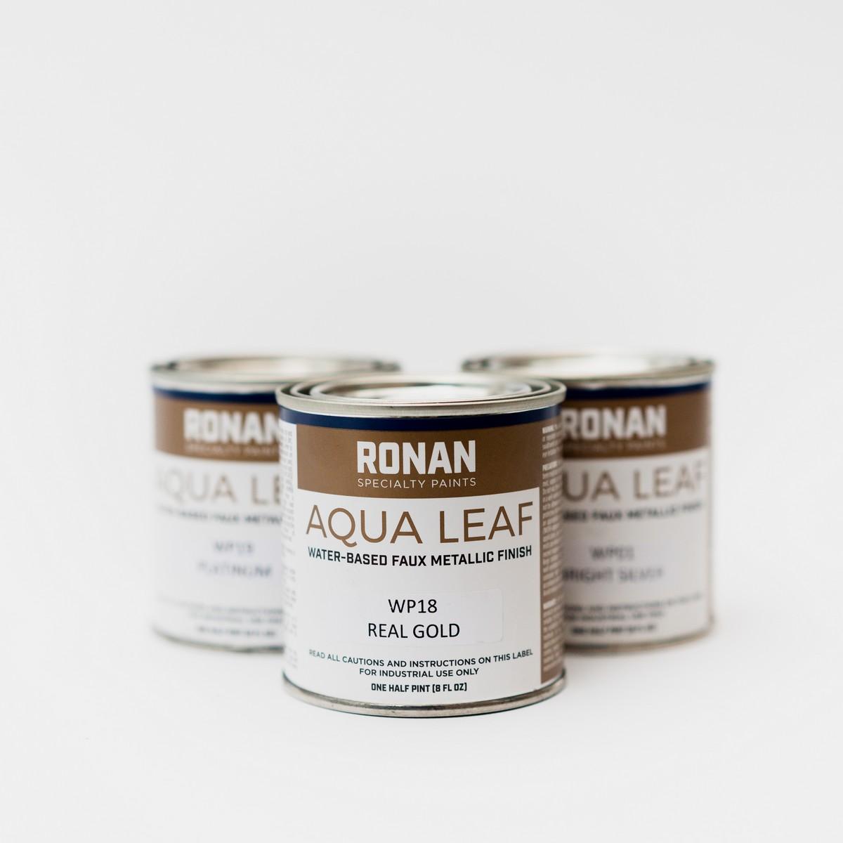 Ronan Aqua Leaf - metallic signwriting water based enamel